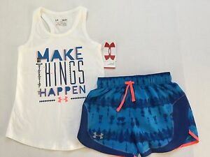 Girl's Youth Under Armour Charged Cotton Tank Top and Shorts Set Outfit