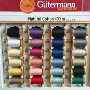 Gutermann Sewing Thread 100% Natural Cotton 400m Reels 26 Colours Free Postage GBP 7.49