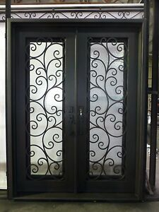 Stunning Wrought Iron Entry Doors with glass 72