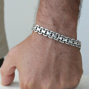 Men's Biker Heavy Wide Bracelet Solid 925 Sterling Silver 1 3 Line Size 7.5 8 9