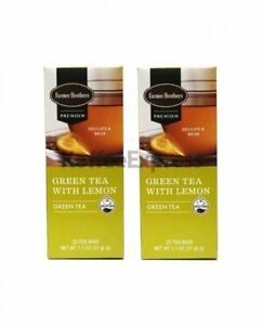 Farmer Brothers Premium: Green Tea with Lemon 2 boxes 50 tea bags Herbal Tea