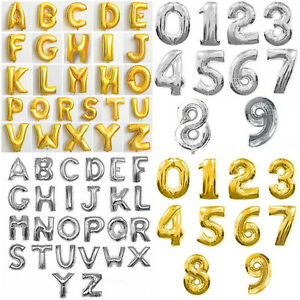 16quot; FOIL LETTER BALLOONS NUMBER BALLOON ALPHABET SILVER GOLD PARTY SUPPLIES USA