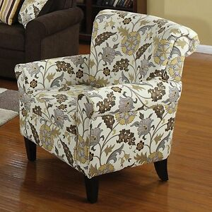 Accent Rolled Arm Chair Floral Leaf Pattern Woven Fabric Attached Back Upholster
