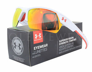NEW Under Armour Igniter II 8600051 101041 Shiny White Orange Mirror Sunglasses