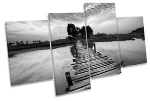 Tropical Sunset Bridge River B&W CANVAS WALL ART MULTI  Box Framed