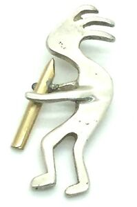 Vintage Oxidized Sterling Silver Two Tone Boy Playing Flute Instrument Pendant