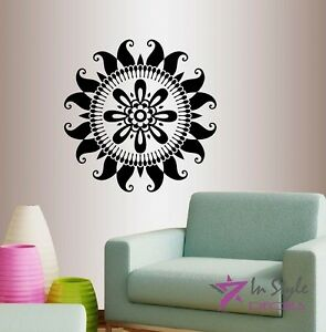 Wall Vinyl Indian Mandala Abstract Ornament Floral Pattern Yoga Wall Sticker 121