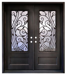 Stunning hand-crafted 12 Gauge Wrought Iron entry doors 72