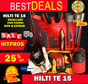 HILTI TE 15, PREOWNED, FREE THERMO, BITS, LOT OF EXTRAS, FAST SHIP