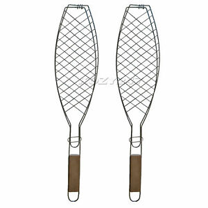 2 BBQ Barbecue Fish Grill Basket Folding Tool with Wooden Handle