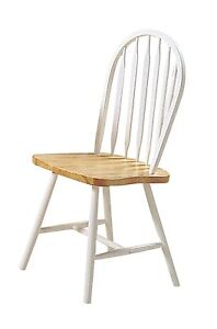 4 Farmhouse Arrow Back Windsor Side Chair Natural and White Finish