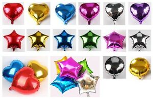 1 24x 10quot; 18quot; Heart Round Star Solid Foil Balloon Helium Baby Shower Bride BDAY