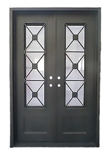 Stunning Wrought Iron Entry Doors with glass from Monarch Custom Doors 72