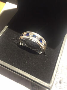 GEMVARA Sterling Silver Ring with Diamond and Blue Sapphire Ring Size: 10.75