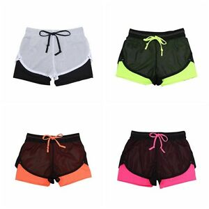 Summer Women's Breathable Sports Shorts Gym Workout Waistband Skinny Yoga Pants