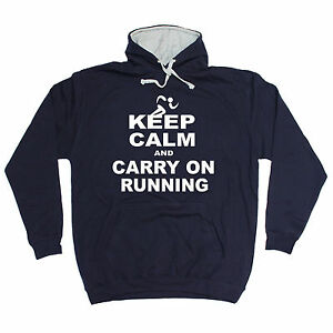 KEEP CALM AND CARRY ON RUNNING HOODIE hoody run training funny birthday gift