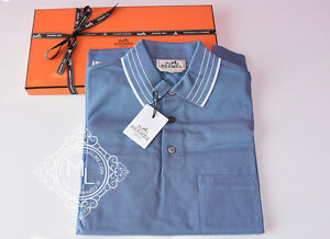 NEW HERMES 40% OFF MENS SPORTS BLUE WHITE STRIPE POLO SHIRT S SMALL SWEATER TOP