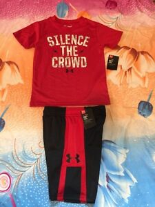 Under Armour Boys Silence The Crowd Tee Red &  Jab Step Shorts Black Lot Size 4