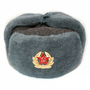 Authentic Russian Army Winter Ushanka Hat Badge Red Star with Hammer Sickle GBP 59.33