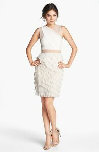 NEW BCBG MAXAZRIA 'Jaya' Tiered Ruffle Mesh DRESS $338 SIZE 6 FRENCH CREAM