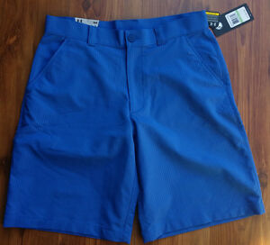 NEW Under Armour Mens Heat Gear Flat Front UA Golf Shorts Size 34 Blue