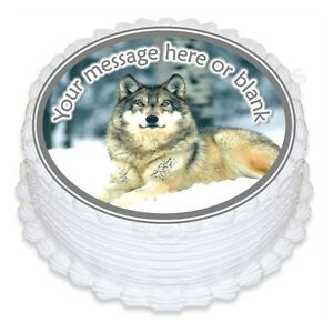 ND2 Wolf personalised round birthday cake topper icing