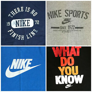 Lot of 4 Nike T-Shirt men's XL (3 Cotton & 1 Dri Fit) Swoosh  Blue Black Grey