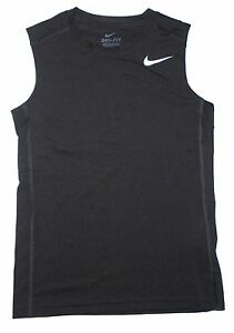 Nike  Boys Dri Fit Sleeve Less Shirt Large Black Polyester