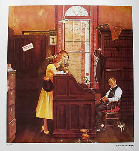 NORMAN ROCKWELL 1978 Signed Limited Edition Lithograph MARRIAGE LICENSE
