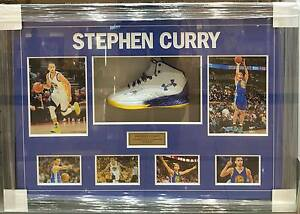 STEPHEN CURRY HAND SIGNED UNDER ARMOUR SHOE COLLAGE GOLDEN STATE WARRIORS MVP