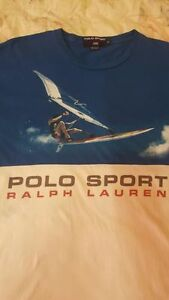 VINTAGE RL POLO SPORT SPELLOUT WHITE BLUE BEAR M STADIUM P WING T-SHIRT CP 92 93