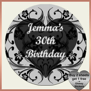 Personalised BIRTHDAY SWIRL Heart Stickers in ANY COLOURS Party bag hen night