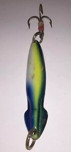 Rare Large UNUSUAL STRAGGLER Metal Squid Shaped Baby Bluefin Paint Tuna Jig Lure