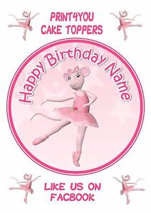 ND2 Angelina Ballerina Birthday personalised round cake topper icing