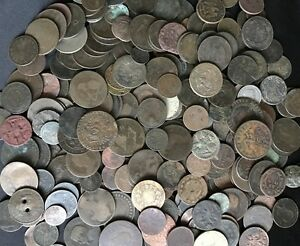 LOT OF (5) LOW GRADE Old World Coins / 1700s 1800s / Part of History! / Antique