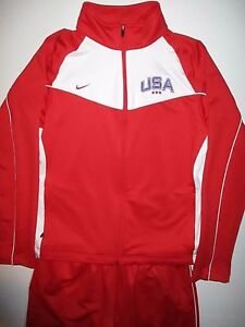 NIKE TEAM Dry Fit USA Track Suit Warmup Jacket (XL 16-18) & Pants (L) Red EUC