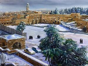 Oil on Canvas Original Signed Art Painting by Alex Levin Winter in Jerusalem