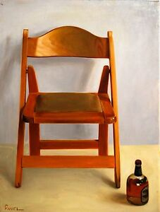 Oil on Canvas Original Signed Painting by Daniel Sergio Wooden Chair $1,500.00