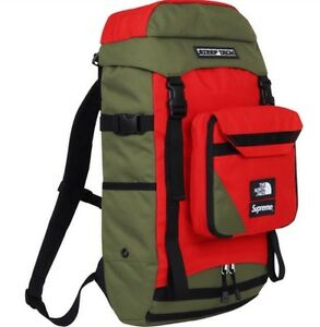 Supreme x The North Face Steep Tech Backpack Olive Green Red