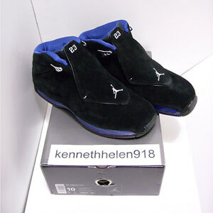 NEW 2003 NIKE AIR JORDAN 18 XVIII ORIGINAL BLACK SPORT ROYAL BLUE MENS SIZE 10