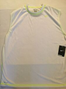 Nike Dri-Fit Sleeveless Shirt White Neon Football New Men's Work Out T Shirt