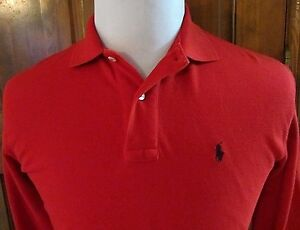 RALPH LAUREN POLO SPORT MENS S RED LS 2 BUTTON PULLOVER POLO SHIRT W PONY LOGO