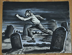 Afro American running at night frightened thru a cemetery drawing  Signed?