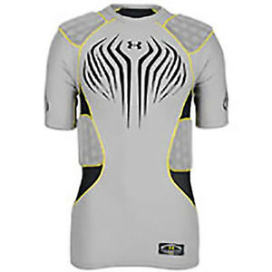 New Under Armour Men's MPZ 5 Pad Football Compression Shirt XXL Gray Polyester