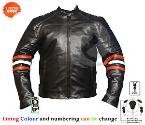 New Black motorbike leather jacket with orange and white strip on arms any size