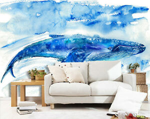 3D Hand painting Blue fish Wall Paper Wall Print Decal Wall AJ WALLPAPER CA