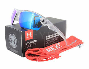 NEW Under Armour Windup Crystal Clear  Frosted Clear Grey Blue Multi Sunglasses