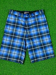 Nike Golf Men's Blue & Black Check Dri-Fit Light Polyester Bottoms Shorts Sz 33