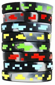 8 Deluxe Pixel Silicone Wristband Bracelet Party Favors for Kids Party Favors