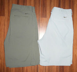 2 PAIR MENS NIKE GOLF FIT DRY POLY SPANDEX PIN STRIPED FLAT FRONT SHORTS SIZE 32